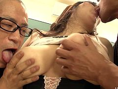 During the make-up classes, two pony looking wankers and a fat Japanese hussy get horny. They take off her clothes leaving her in a corset and panties before they proceed to oral stroking her oversized slack tits and rubbing her cunt under panties.