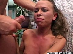 Two insatiable dudes double fuck steamy Russian hoe Marianne
