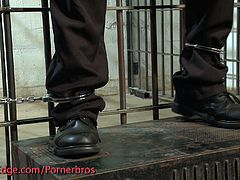 Hot prison guard receives a hard spanking, he can't move he bends over and gets his asshole toyed hard and deep. Wanna see?