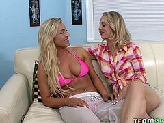 Check out these two hot blondies with banging bodies getting down and dirty on the sofa. Licking and eating pussy. If this doesn't turn you on then I don't know what will.