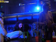 Drunk Russian chics get totally drunk during a hen party in strip club. They take off their clothes exposing skinny tasty bodies before they proceed to oral and hand stroking each other in steamy lesbian sex group video by WTF Pass.