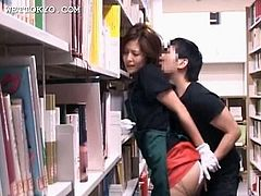 Asian tempting babe gets her pussy teased upskirt in the library
