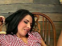 Danica Dillan is a cowgirl who likes on the farm. Her neighbor comes to her place and asks for a hot sex. The chick cant resist herself and has great sex with him.