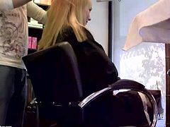 Attractive young blonde babes Blue Angel and Sandy with pretty faces and hot bodies in average clothing get filmed in close up while getting their hair fixed up in hairdresser studio