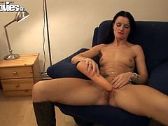 Hot Czech girl in high boots toys herself lying on an armchair. After that she gets her pussy licked and fucked.