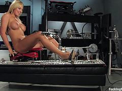 Get a load of this mind-blowing clip where this sexy blonde goes solo with the sex machine. She will be moaning nonstop, so things are about t get loud!