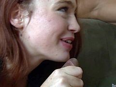 Red-haired lady Jodi Taylor has fun playing with black guys hard cock. She gives handjob to muscle guy and then gets her sweet mouth fucked in steamy interracial action. He turns her on!