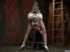 Incredible BDSM session for a kinky girl Lia. She is tied up and then babe stuns from every single drop of hot wax. That's some high degree pain.