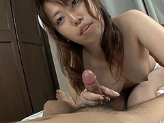 Torrid slim brunette from Japan is hot like hell. This voracious and cum addicted filth loves sucking a cock. But you just need to see the way she gives a tender footjob in Jav HD sex clip to jizz of pleasure at once.