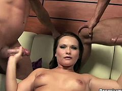 Busty Katja Kassin jerks off two big rods and gets jizzed allover her sweet face and in her mouth too! She loves the fresh cum!