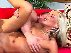 Hot and handsome blonde girl Kacey Jordan pleasuring great fuck with her boyfriend on the couch, she is being hard fucked with really hard and big dick in rather poses!