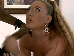 Long haired brunette bitch with natural tits and cheep heavy make up gets her big bouncing ass pounded hard by randy black bull in amazing positions all over the living room