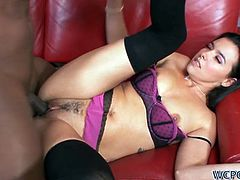 Danica Dillon was horny today and the only way to satiate this brunette bombshell's lust is with a big black cock in her pussy and ass.