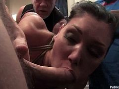 Slutty brunette Claire Dames is having fun with a few men in a gym. The guys fuck Claire's holes on a ring and enjoy the way she moans in pleasure.