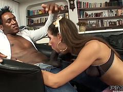 Smoking hot and super luscious babe Marika Ferrero gets in a hot interracial sex scene. She sucks a huge black dagger and then gets drilled deep in her wet twat.