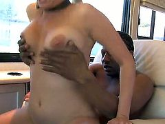 Amateur busty curve Sadie Sable play dirty games with the strong black guy Tone Capone. He drills her juicy cunt in the car and wants to cum in her face! Enjoy this interracial scene!