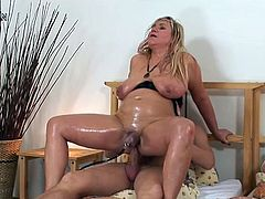 This busty and chubby MILF is going to get her pussy pumped while sucking cock before getting her ass toyed and her snatch drilled.