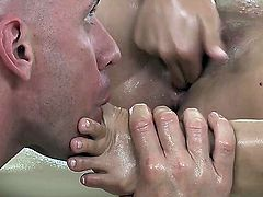 Karina White came for a relaxational massage by a great professional Johnny Sins! Brunette hottie gets her delicious body oiled and sweet pussy licked before the great fuck!