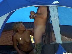 Arousing smoking hot blonde milf with long whorish nails and natural hooters in black underwear gets seduced by tanned mature fucker and takes on his meaty stiff pecker in tent