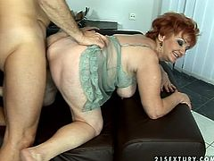 Horny and slutty granny likes sucking huge cocks. She sucks that cock and then gets it deep in her wet twat. Granny is so fucking crazy!