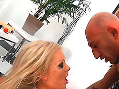 Awesome big dude with a sexy bold head Omar Galanti is pounding a tight pussy of his new girlfriend Milana, which enjoys being filmed by Lolli Moon while fucking.
