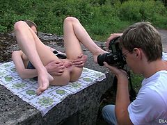 Beata wants to have a few photos of her having a good time in the middle of the nature. This skinny and milky white cunt loves to show her pussy and knowing that we are watching her. She starts to act like a whore and finger her cunt. See what else she will do with herself in front of the camera
