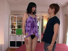 Saki Aoyama is sexy japanese teenie with nice titties and tight hairy snatch. She go it fingered, before taking his cock deep inside!