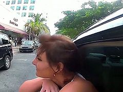 Diamond Kitty,Levi Cash and Phoenix Marie are enjoying threesome in the car