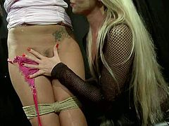 Lesbian mistress Kathia Nobili with long blonde hair loves Ciprianas sexy body. Slave brunette gets her perky tits touched by hot domina. Then she loses her panties and gets her bare butt spanked.