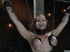 This is fucking BDSM to watch. Sexy siren Bella Rossi gets naked and tied up with some ropes. Then her tits gets sucked out with that powerful pump.