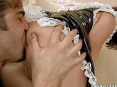 Experienced young brunette whore Bobbi Starr with smoking hot body in french maid latex uniform and high heels teases tall long haired stud and gives him memorable deep throat