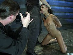 Check out this great scene where this sexy slave has a threesome with two of her masters after being tortured by them.