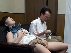 This crazy horny Asian chick gets it on with some random guy in the waiting room and he vibrated her till she cums.