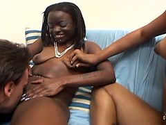 This hot amateur ebony chick from the hood is hot as hell! You can't tell by her innocent face that she will give such nice blowjobs and ride his white meat so good!