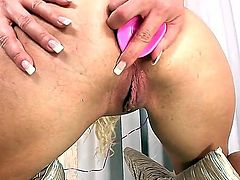 Blonde hair and blue eyes make this slut beautiful. Lena Cova is lonely and unhappy, only one her friend is the pink dildo, that helps her to get the sexual pleasure
