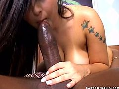 Hot bitch Lorena Aquino gives a hot blowjob to lewd ebony tranny Suzanna Holmes. Then she takes the BBC in her pussy and rides it crazily.