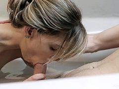 Skinny blonde gets her tight vag drilled in amazing hardcore pron action