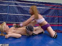 Watch the perverse wrestlers Celine Doll and Aleska Diamond fighting wildly in this sexy video provided by 21 Sextury. See the kinky brunette and the nasty blonde munching their sexy slits while assuming some wild poses!