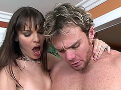 Two chicks with natural tits Dana DeArmond and Lana Violet try to make happy their rich client with the gigantic dick Justin Magnum. They lick his genitals and give their cunt for drilling