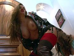 Nika Noir and Charlotte Vale are sexy brown haired babes that have fun in lezdom scene. Long haired charming domina in red stockings makes obedient girl lick her butt and pussy from behind.