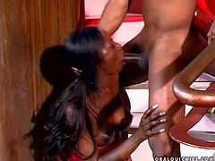 Long haired one of a kind exotic ebony with pretty face and slim body gets on knees and sucks her lover with long shaft until her cums on her boobs