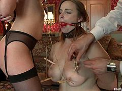 Check out this dominated sex slaves tied up and ready to blow their master's demanding dick in this BDSM video where they get a cumshot all over their face.