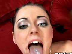 Smoking hot brunette babe Sophie Dee gets laid with a strong black dude. She sucks his cock and then makes him fuck her doggy style.