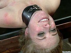 Tied up and gagged blonde babe gets fucked in her mouth. She also gets her ass destroyed by her master.