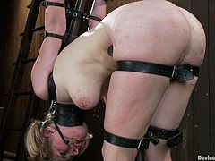 Breast bondage is perfectly fine with this sexy blond