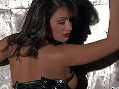 Sexy brunette Charley Chase in mistress outfit demonstrates her perfect big ass in behind the scenes of her solo photo shoot. This hot bodied brown haired pornstars shows it all with no shame.
