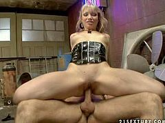Young cheep blonde bitch Maya Hills with dark make up and great hinge for cock in black latex outfit and high heels gives head to her lover and gets banged hard