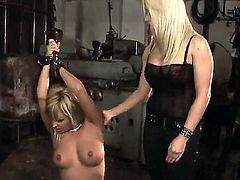Tight boobed Adriana Russo bondage Lee Lexxus and pushed her down on her knees and then rudely spanking her and fucking with rather toys.