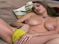 Big busty freaky brunette Cassandra Caloger gets a lone session of masturbation till cumming