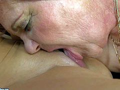 Slutty black haired slim bitch Chanel with natural tits and long legs has wet pussy licking action with short haired brunette whore and uses strap on to pleasures her